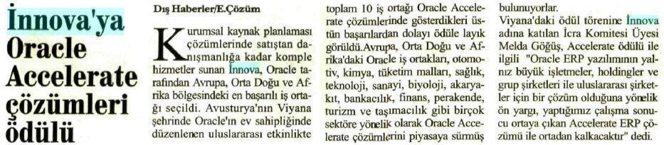 iNNOVA'ya Oracle Accelerate Ödülü