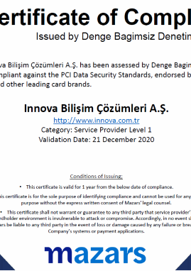 Payment Card Industry Data Security Standard (PCI DSS) Certificate of Compliance