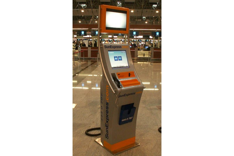 SunExpress presents it's self-service check-in kiosks at Sabiha Gökçen Airport